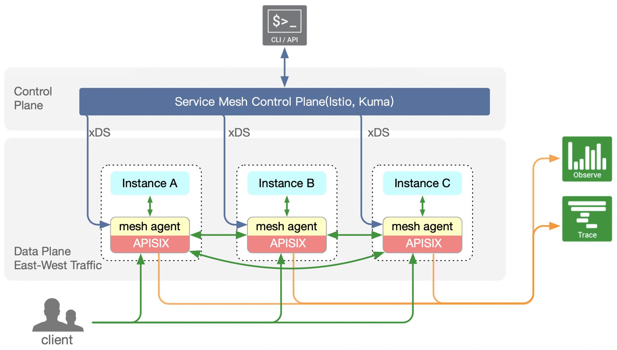 Apache APISIX mesh agent arch